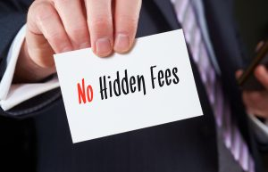 Hand holding no hidden fees sign